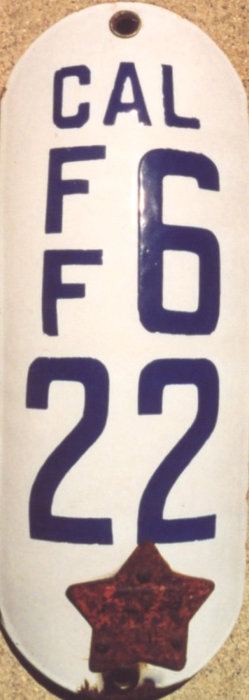 Triple Aaa Number >> California Porcelain Motorcycle License Plate Number Decoder (1914-1919)