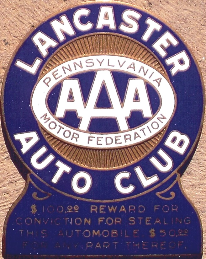 Porcelain auto club badges pennsylvania for Lancaster county motors used